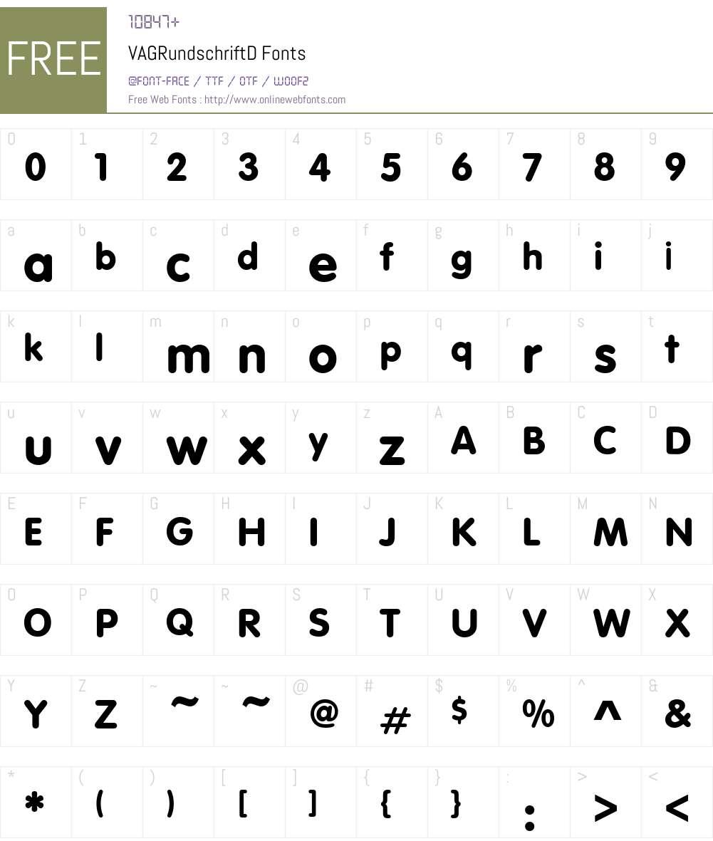 VAGRundschriftD Font Screenshots