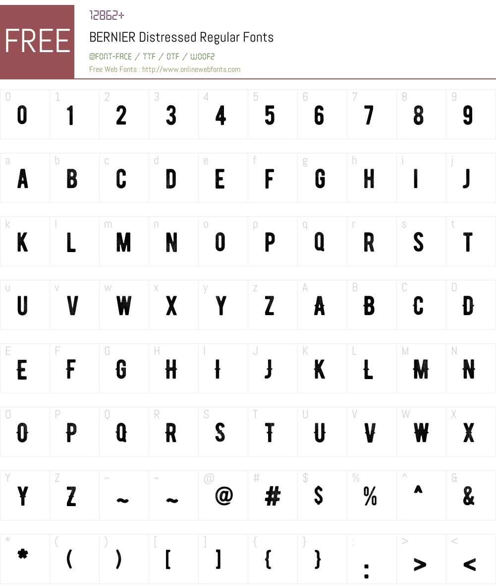 BERNIER Distressed Font Screenshots