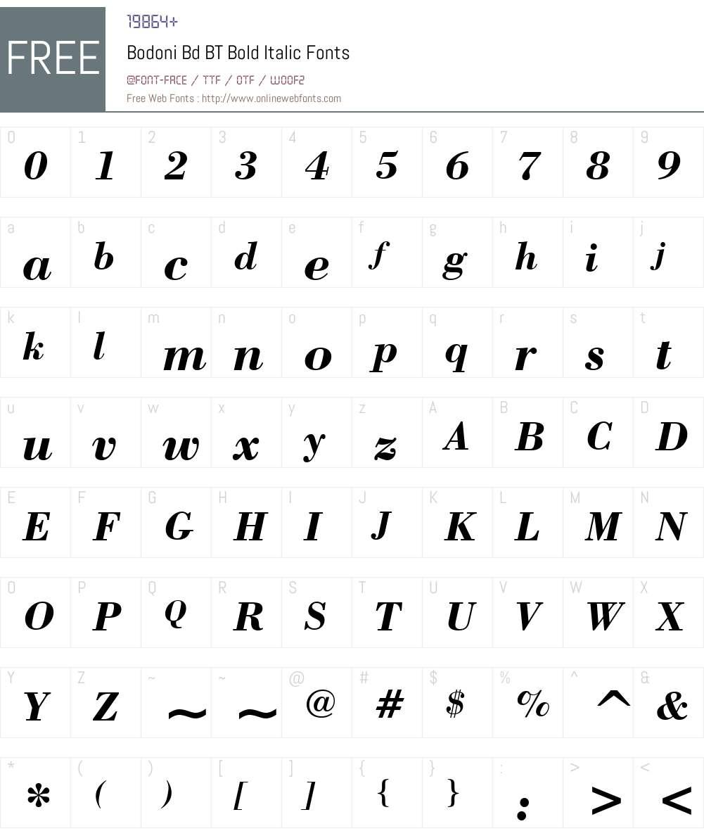 Bodoni Bd BT Font Screenshots