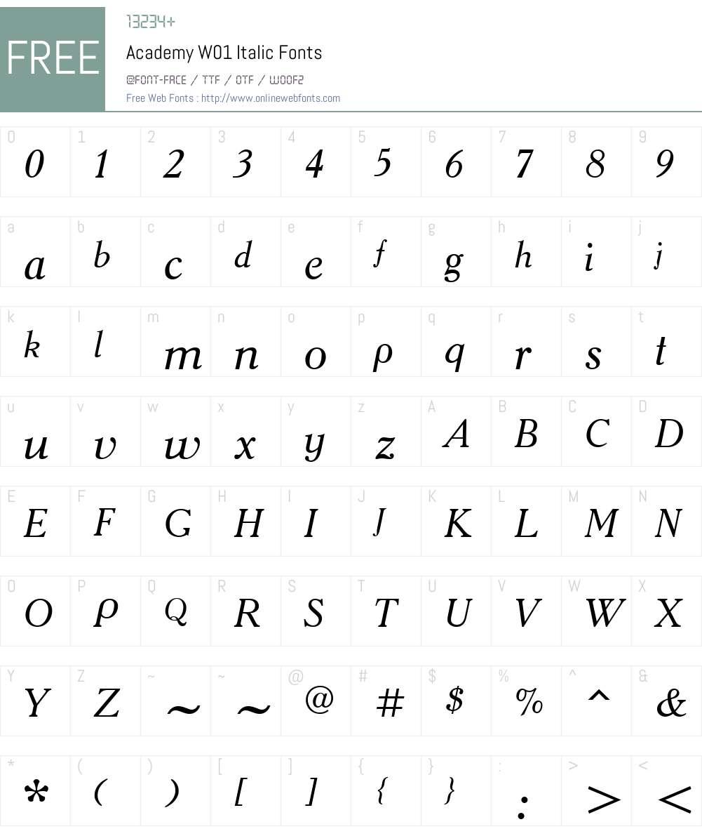 AcademyW01-Italic Font Screenshots