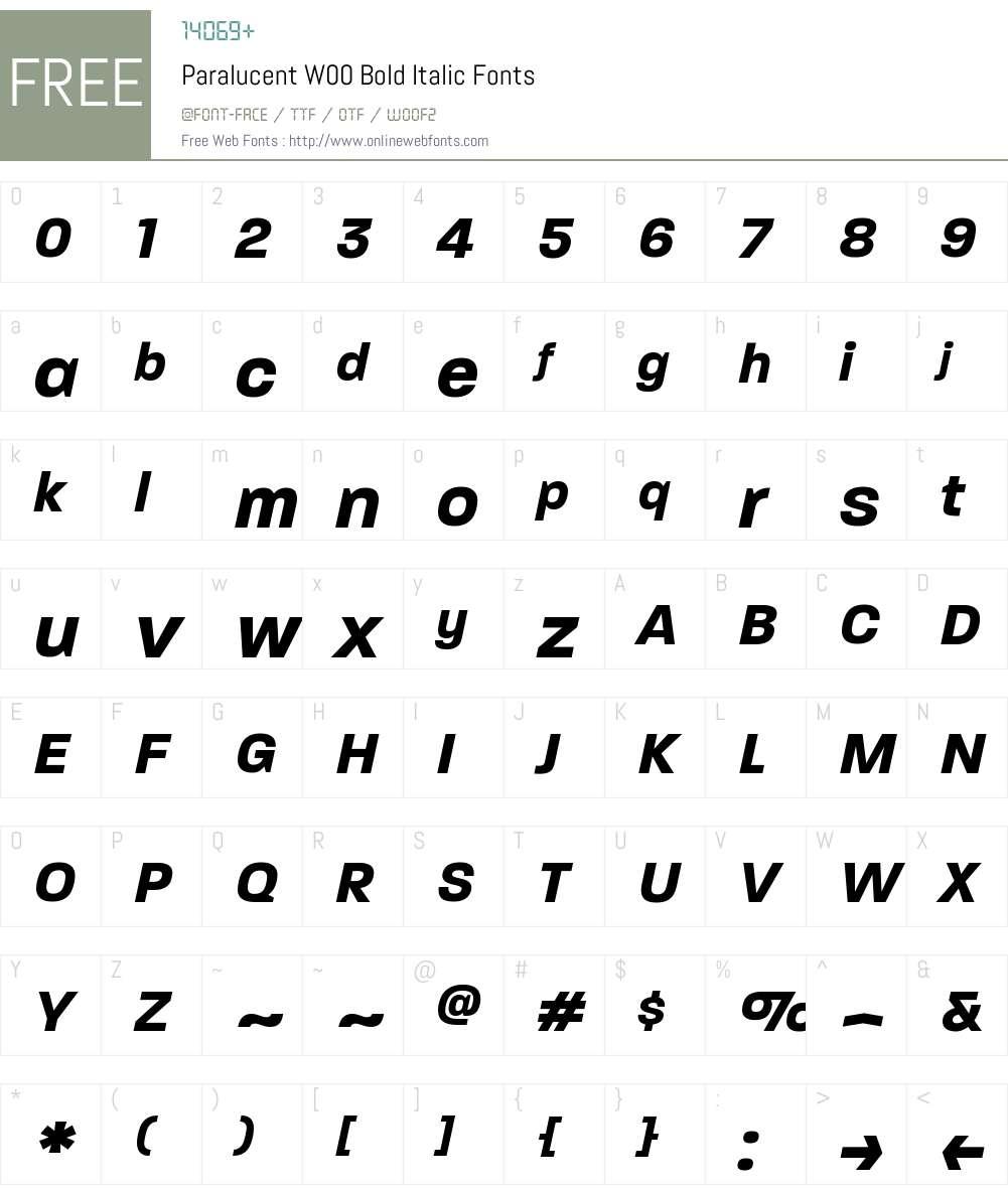 ParalucentW00-BoldItalic Font Screenshots
