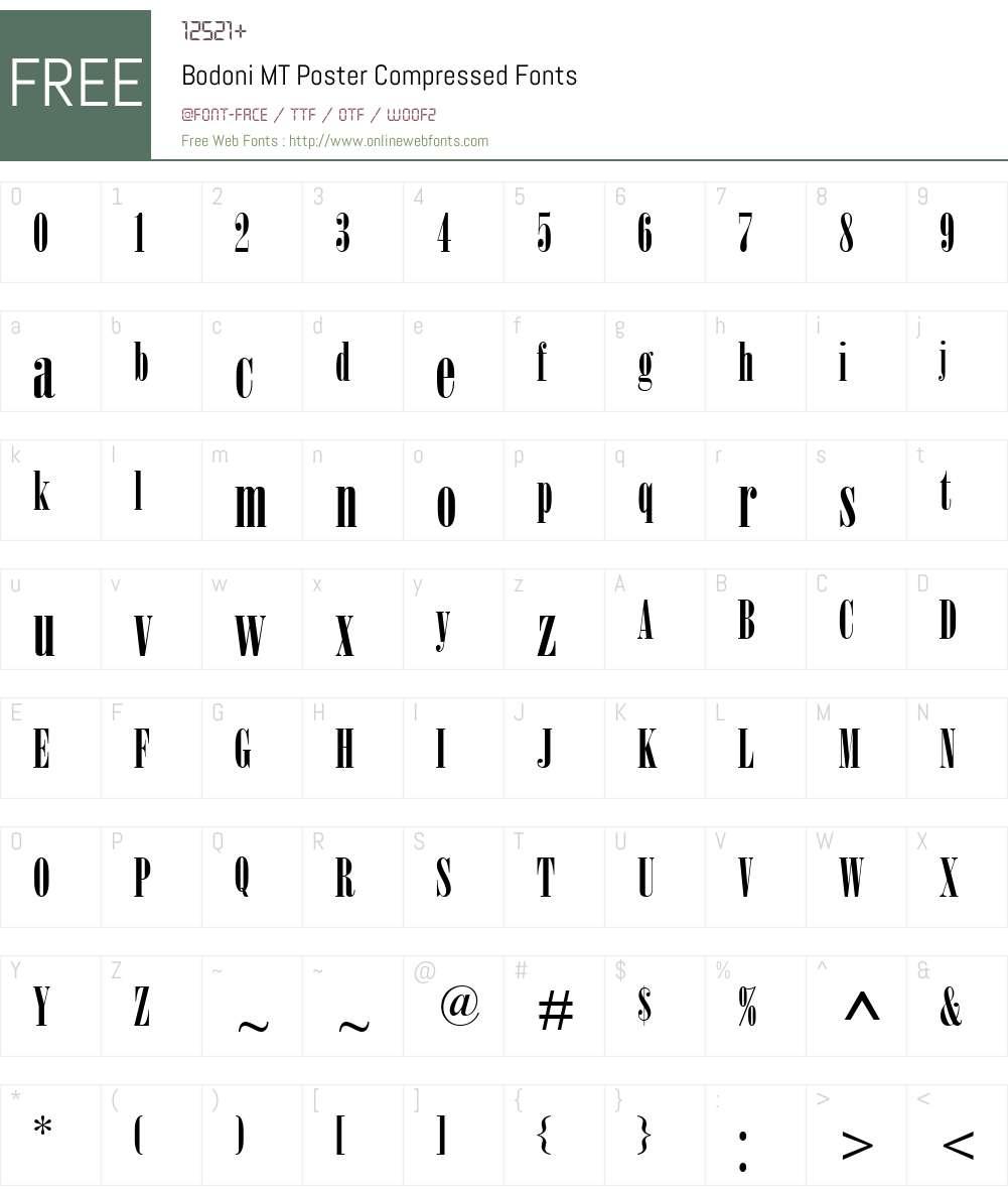 Bodoni MT Poster Compressed Font Screenshots