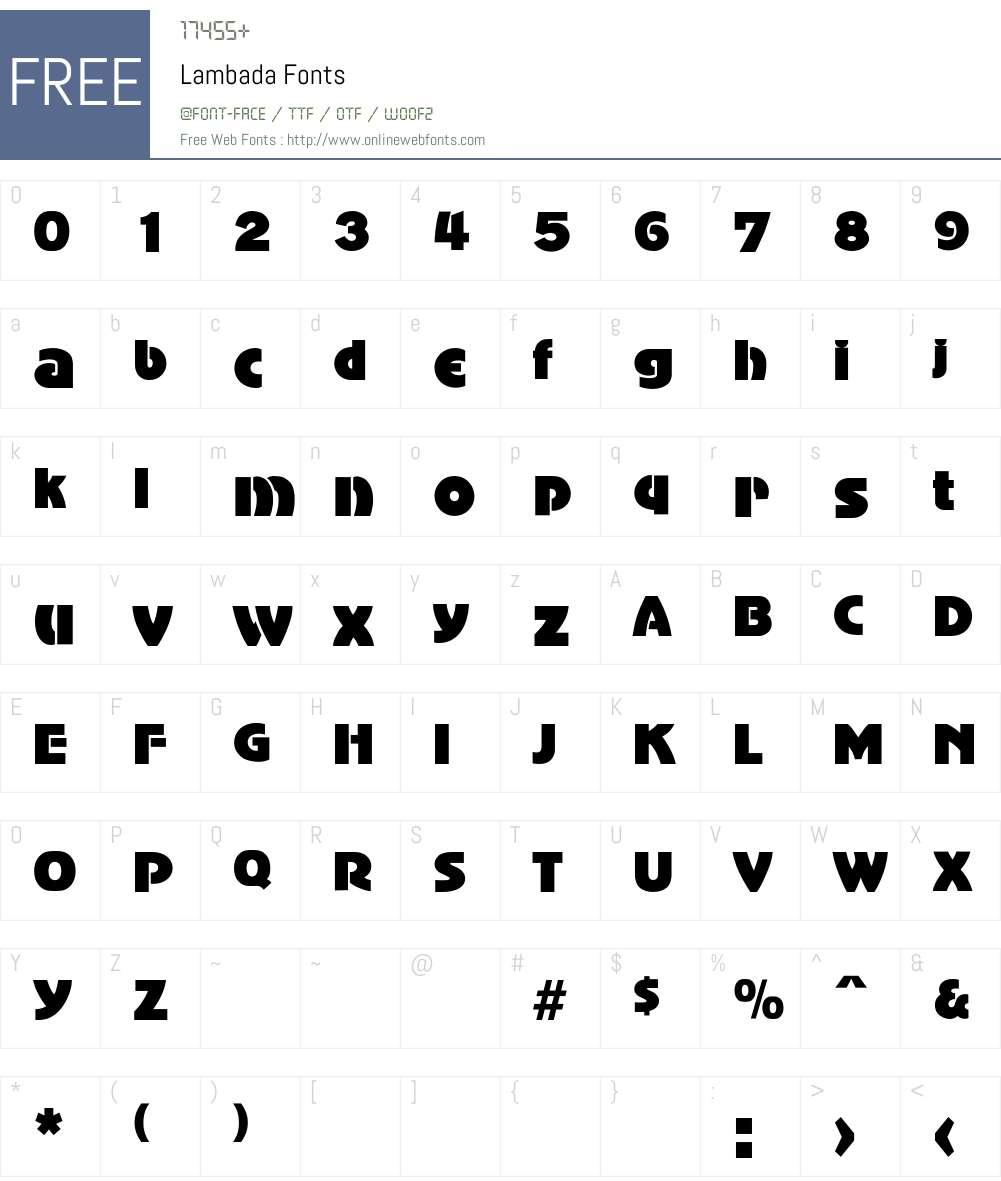 Lambada Font Screenshots