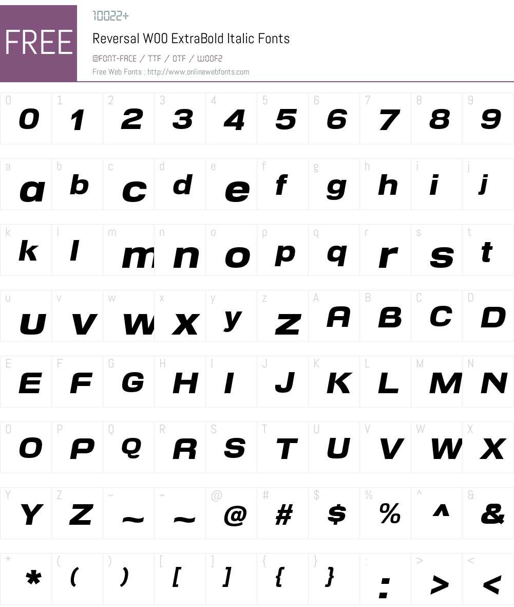 ReversalW00-ExtraBoldIt Font Screenshots