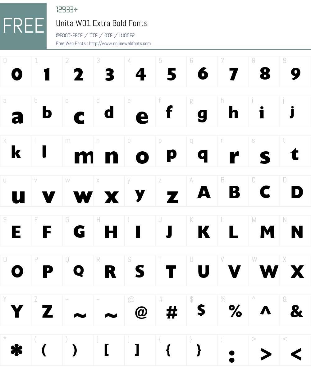 UnitaW01-ExtraBold Font Screenshots
