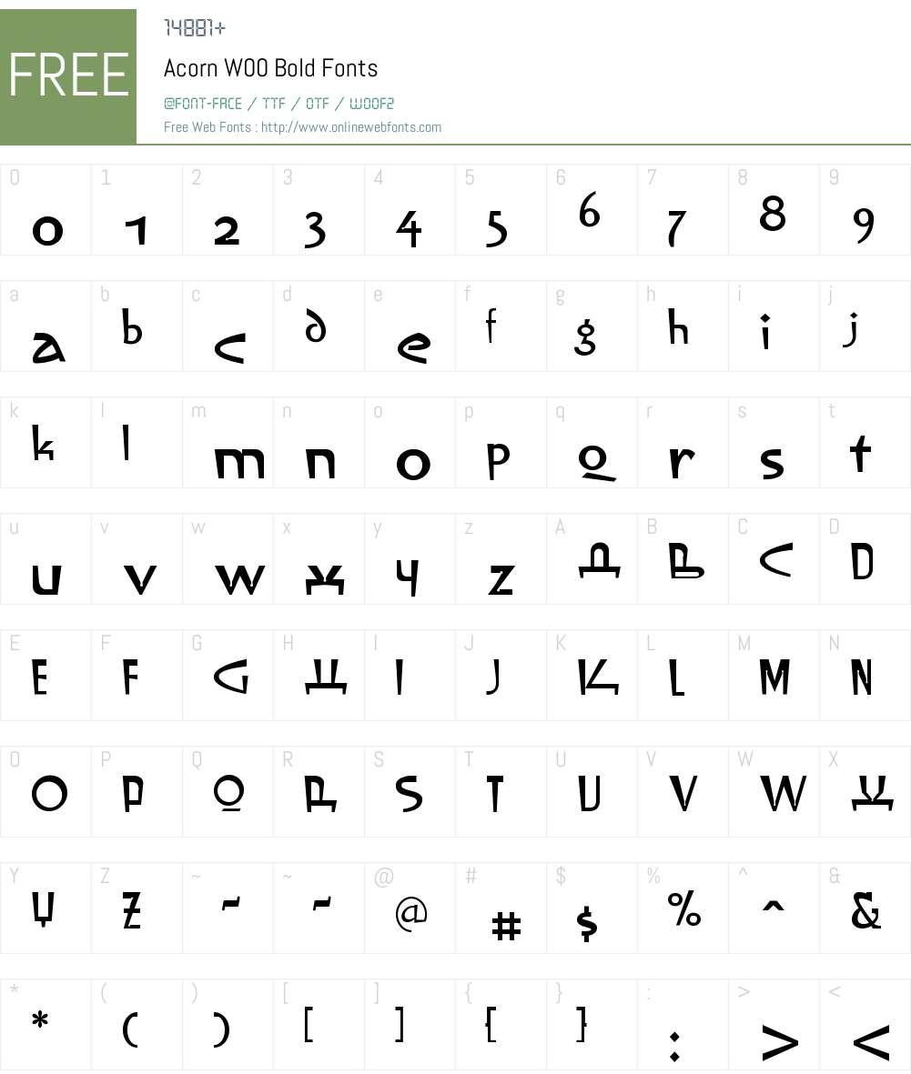 AcornW00-Bold Font Screenshots
