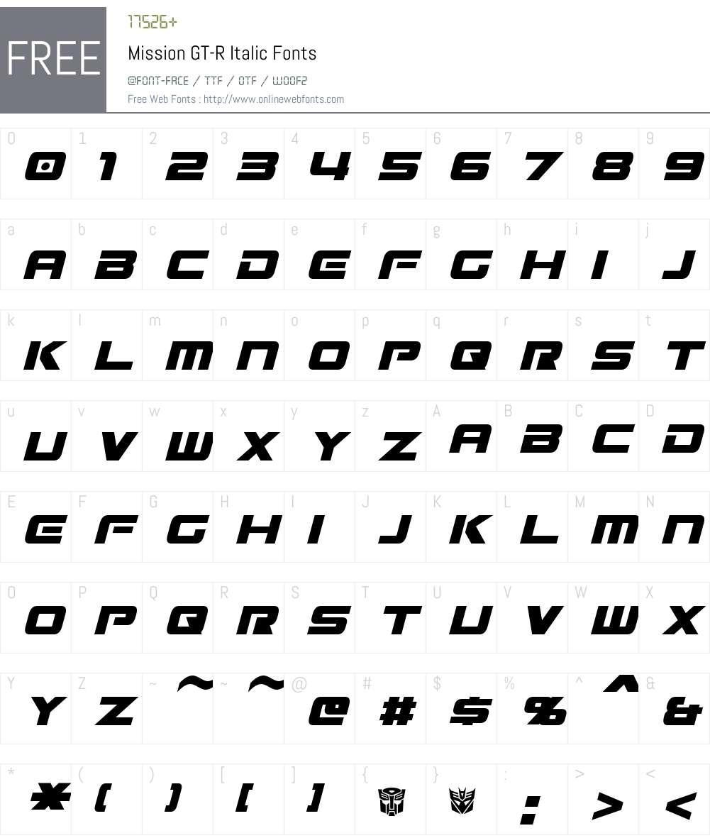 Mission GT-R Font Screenshots