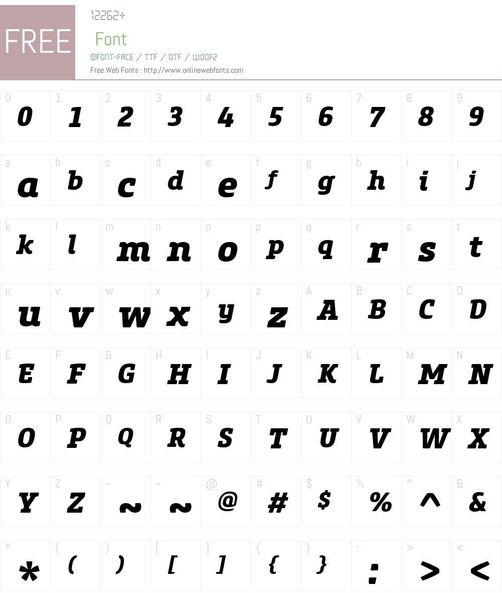 CoreSlabMW01-75XBoldItalic Font Screenshots