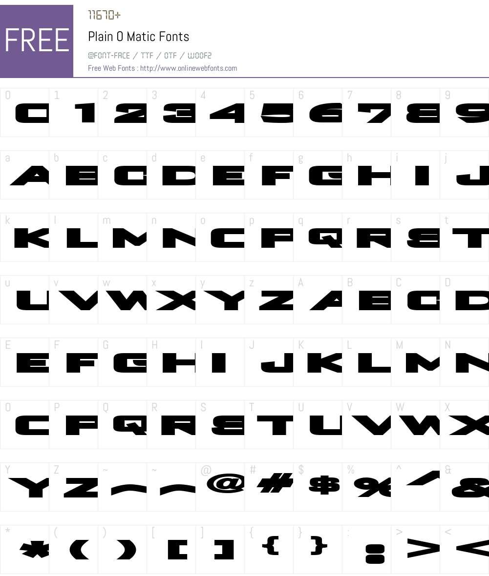 Plain O Matic Font Screenshots