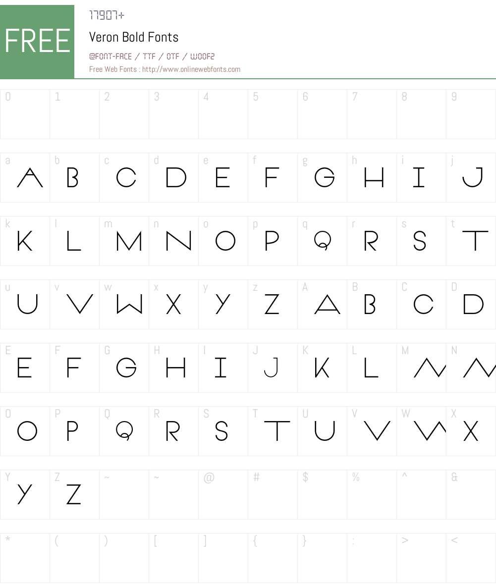 Veron Bold Font Screenshots