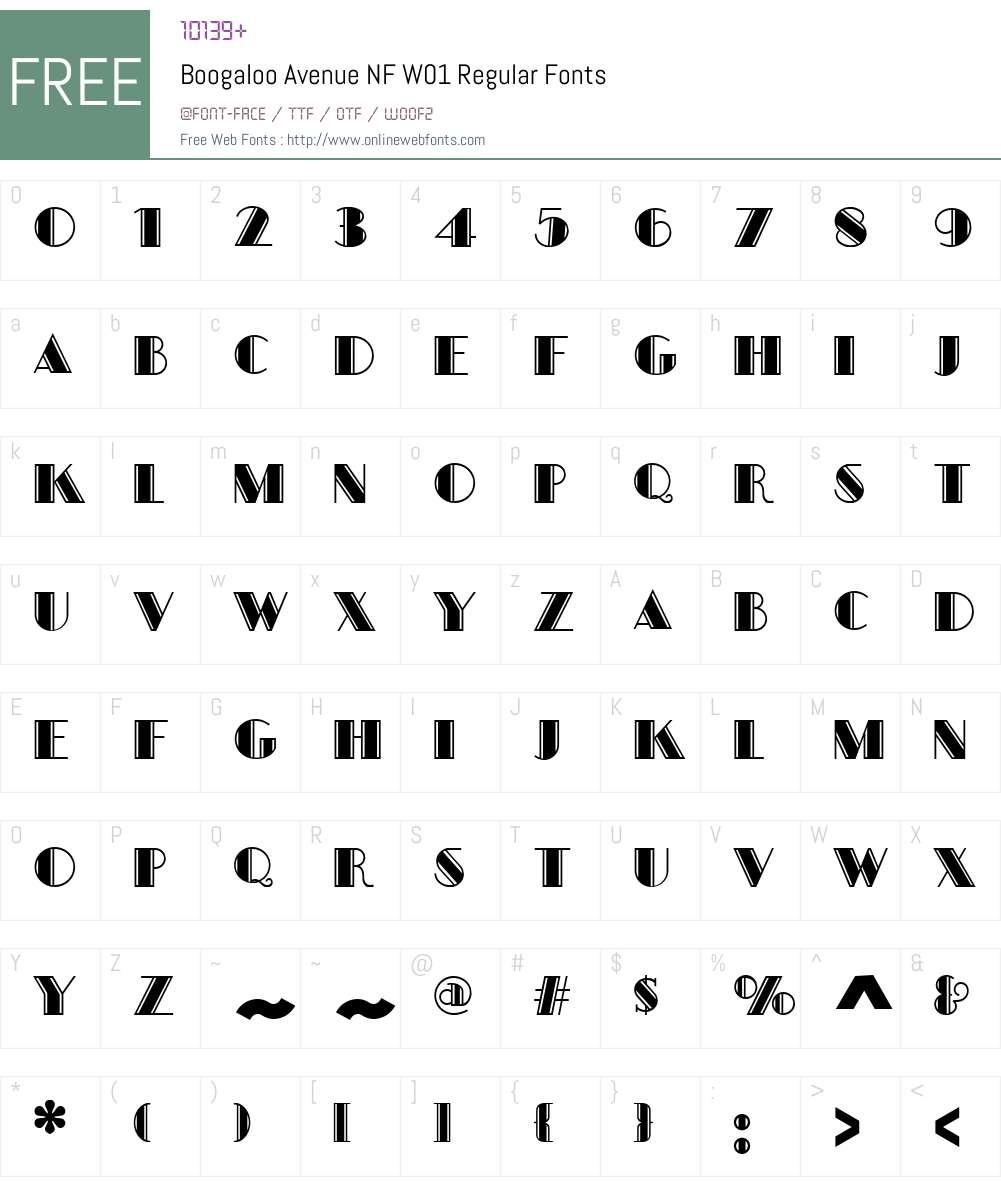 BoogalooAvenueNFW01-Regular Font Screenshots