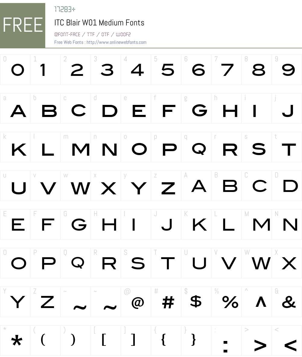 ITCBlairW01-Medium Font Screenshots
