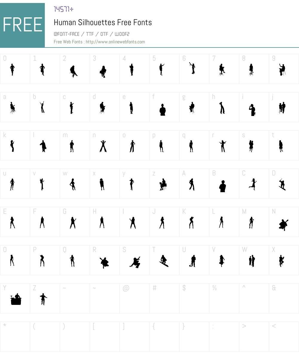 Human Silhouettes Free Font Screenshots