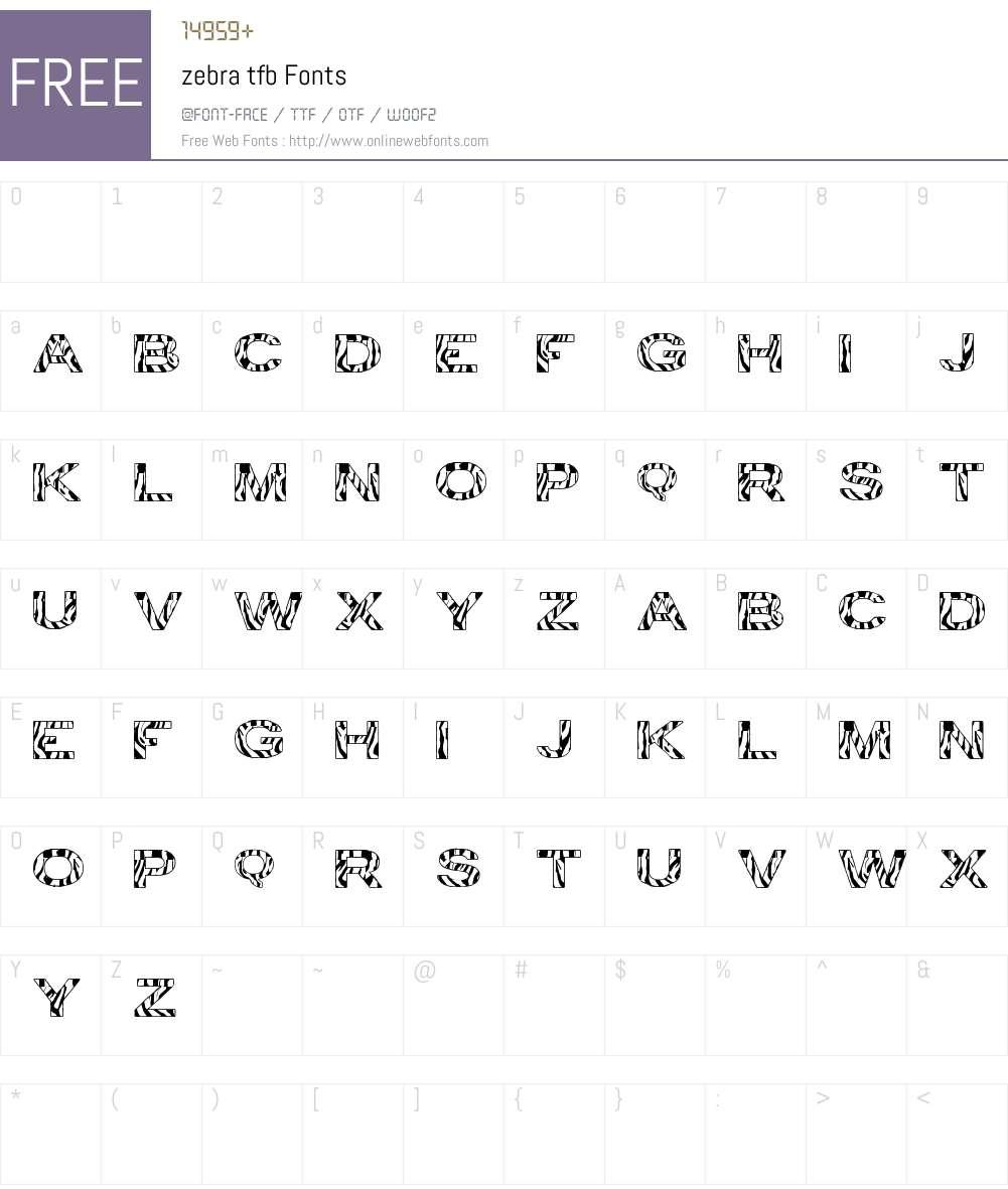 zebra tfb Font Screenshots