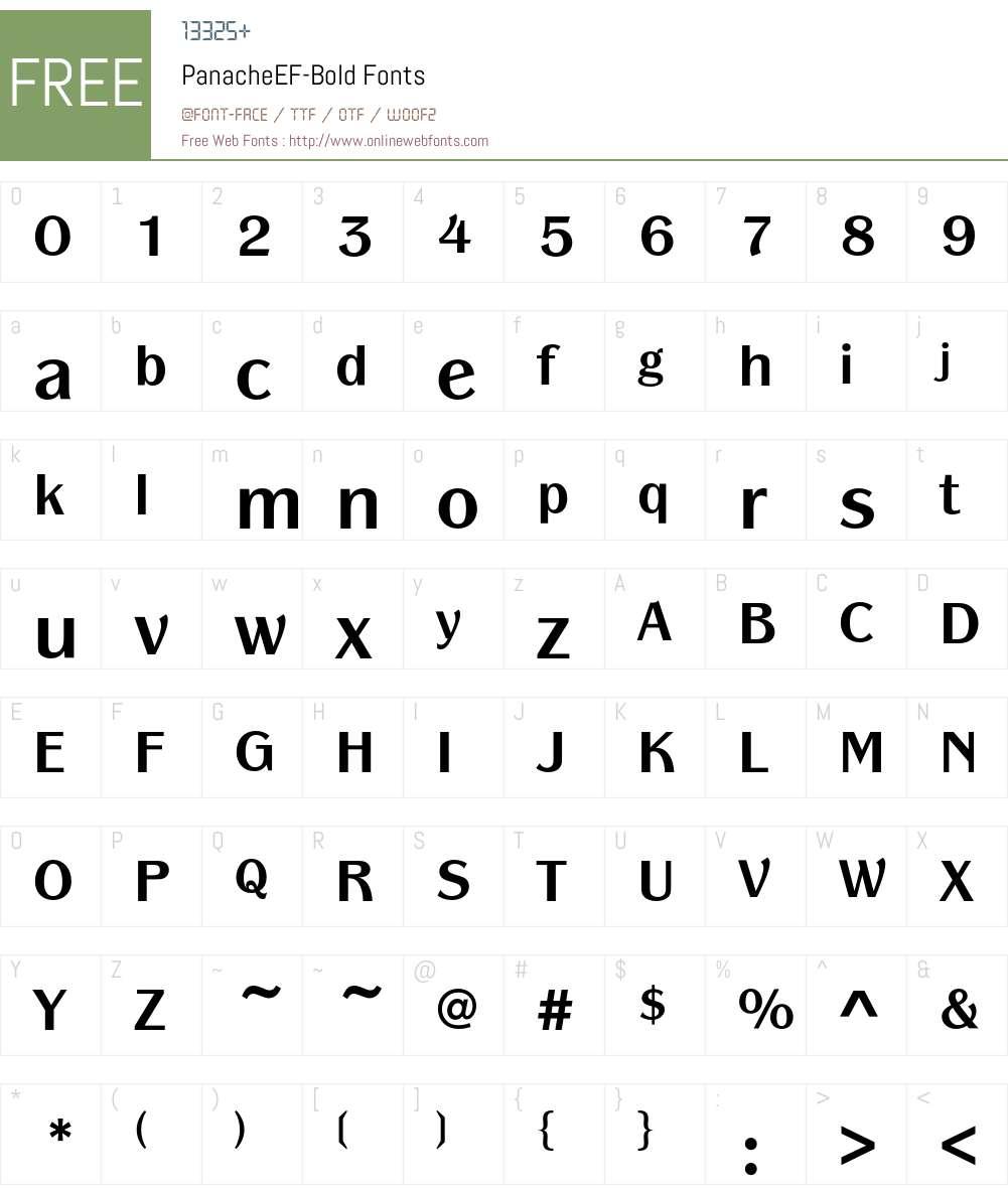 PanacheEF-Bold Font Screenshots