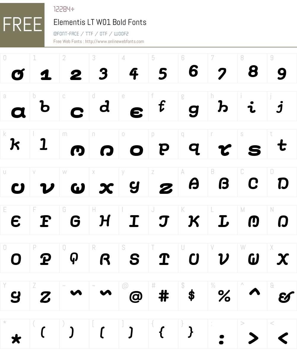 ElementisLTW01-Bold Font Screenshots