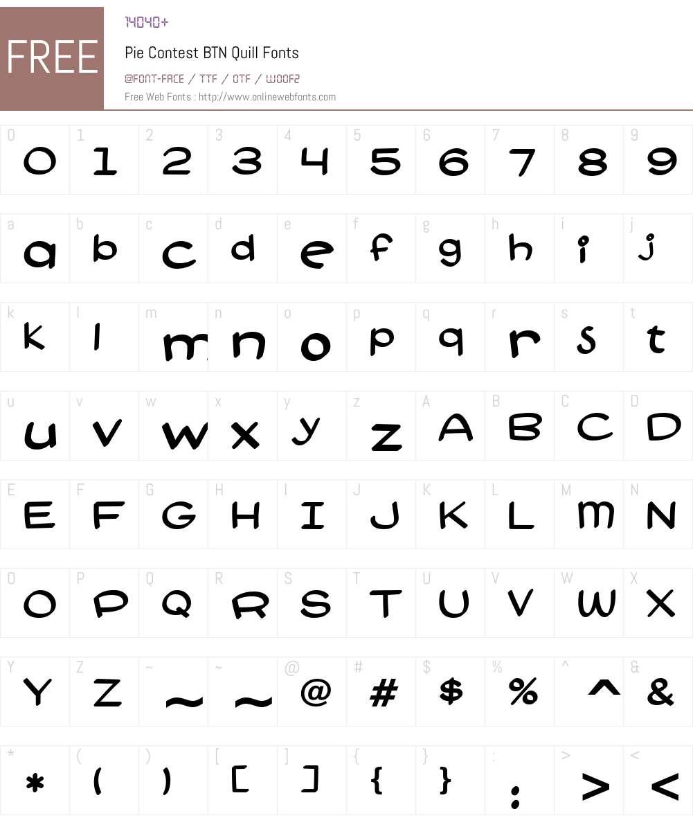 Pie Contest BTN Quill Font Screenshots