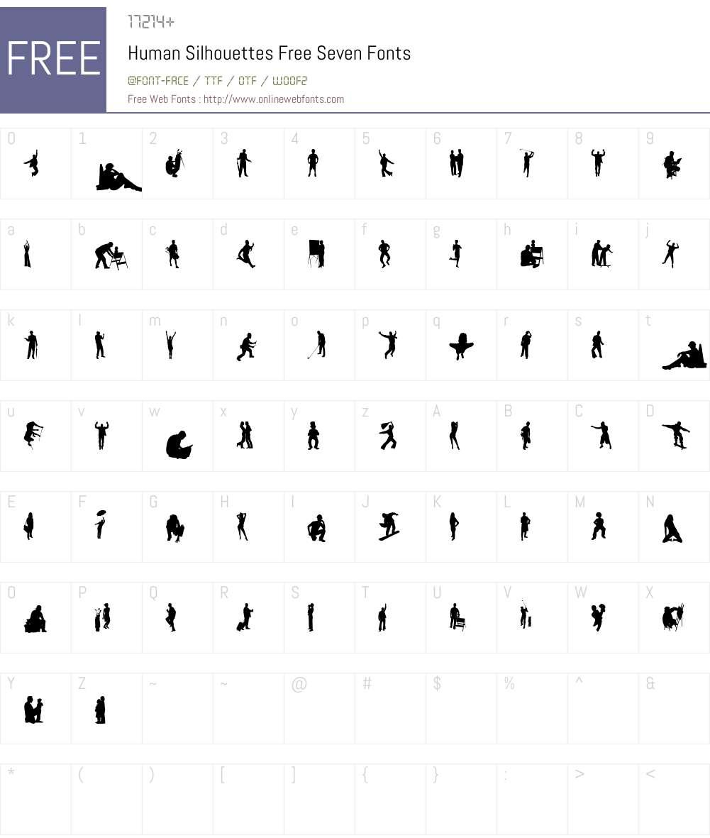 Human Silhouettes Free Seven Font Screenshots