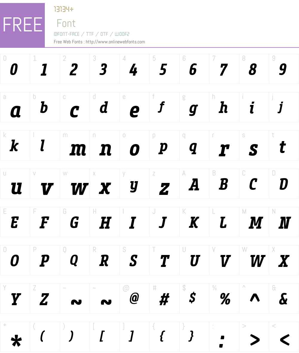 CoreSlabMW01-67CnBdItalic Font Screenshots