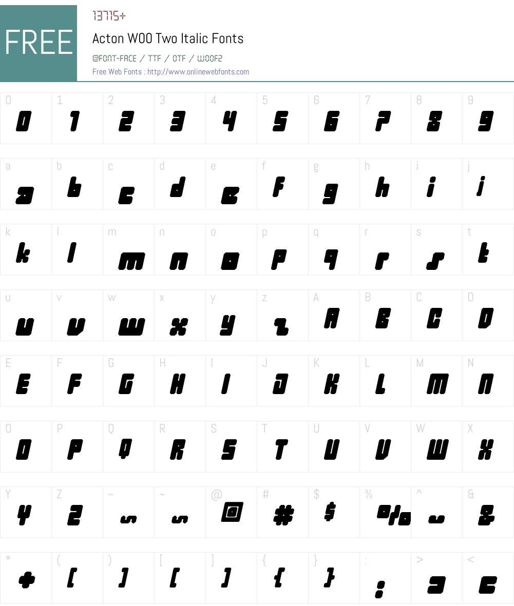 ActonW00-TwoItalic Font Screenshots