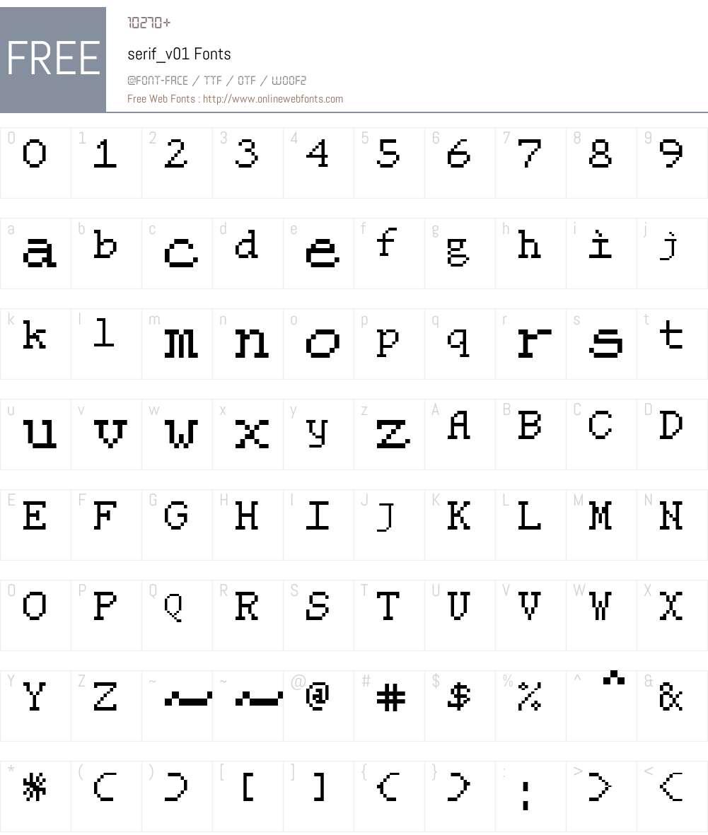 serif_v01 Font Screenshots