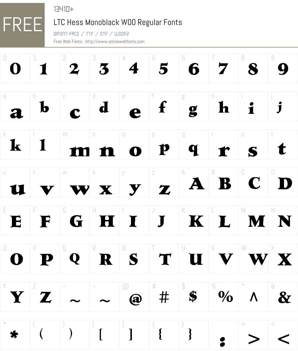 LTC Hess Monoblack Font Screenshots