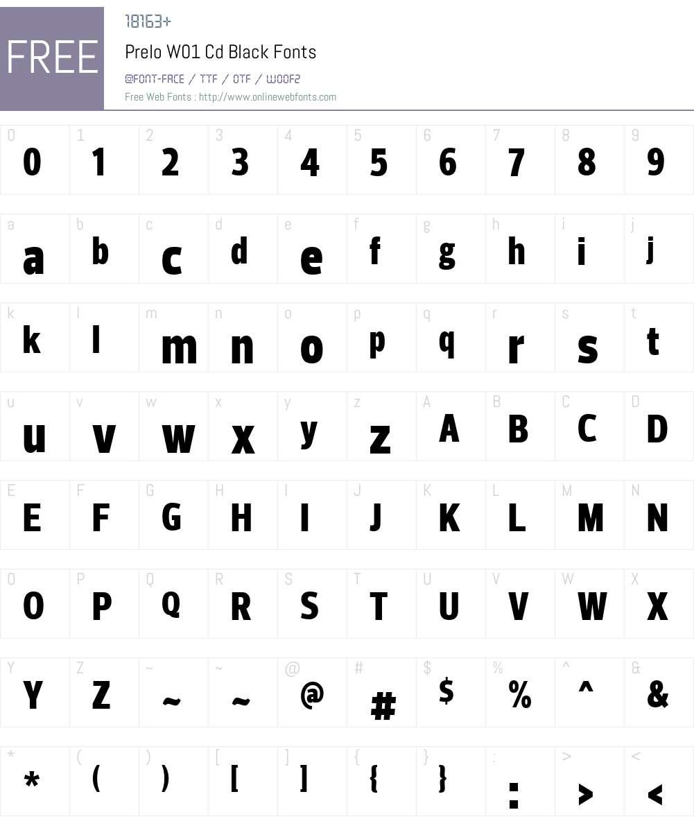 PreloW01-CdBlack Font Screenshots