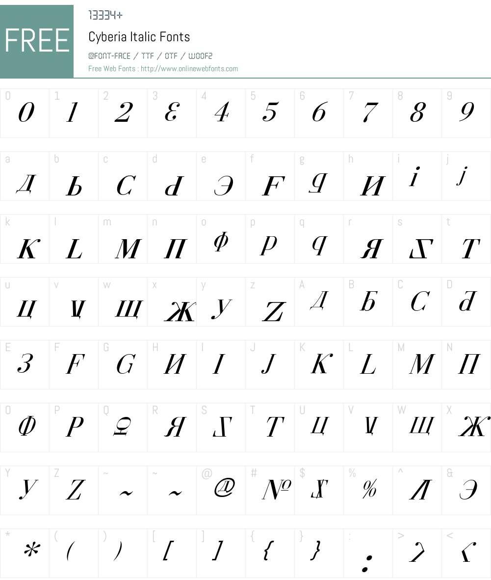 Cyberia Italic Font Screenshots