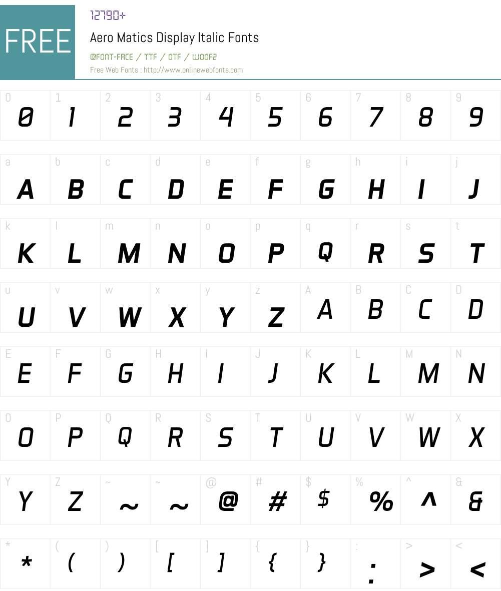 Aero Matics Display Font Screenshots