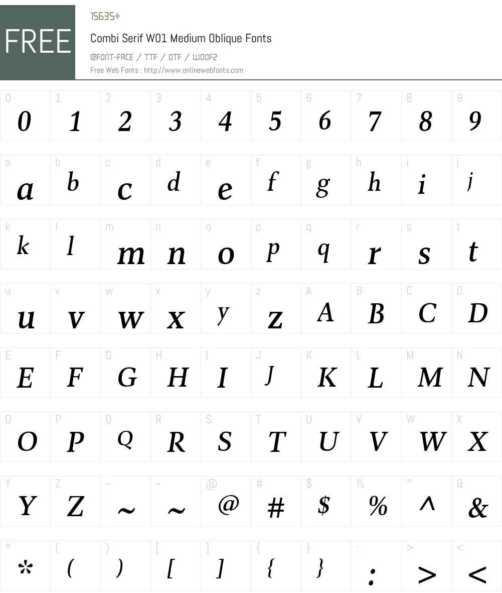 CombiSerifW01-MediumOblique Font Screenshots