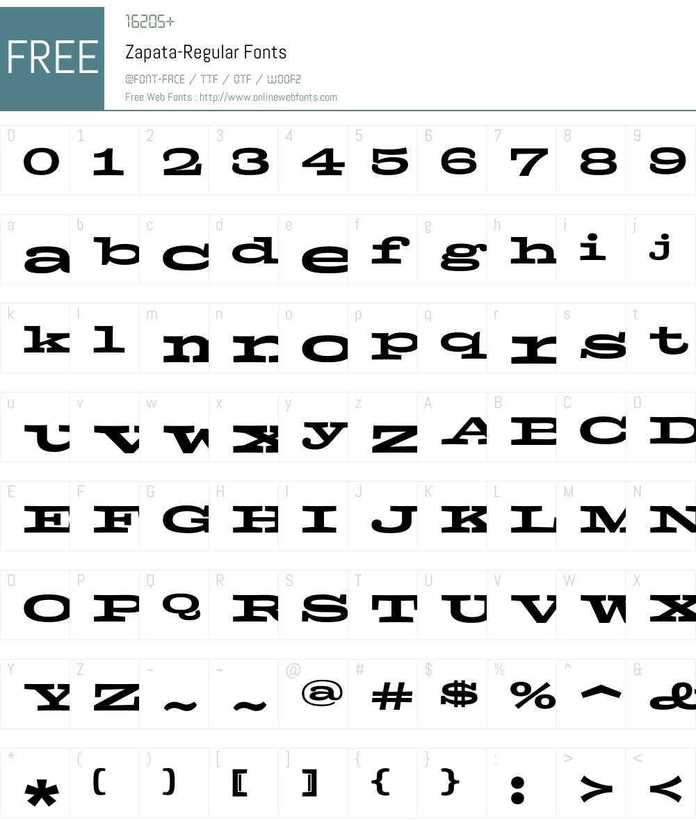 Zapata Font Screenshots