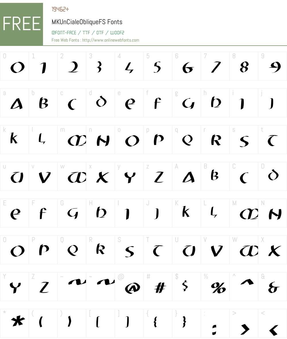MKUnCialeObliqueFS Font Screenshots