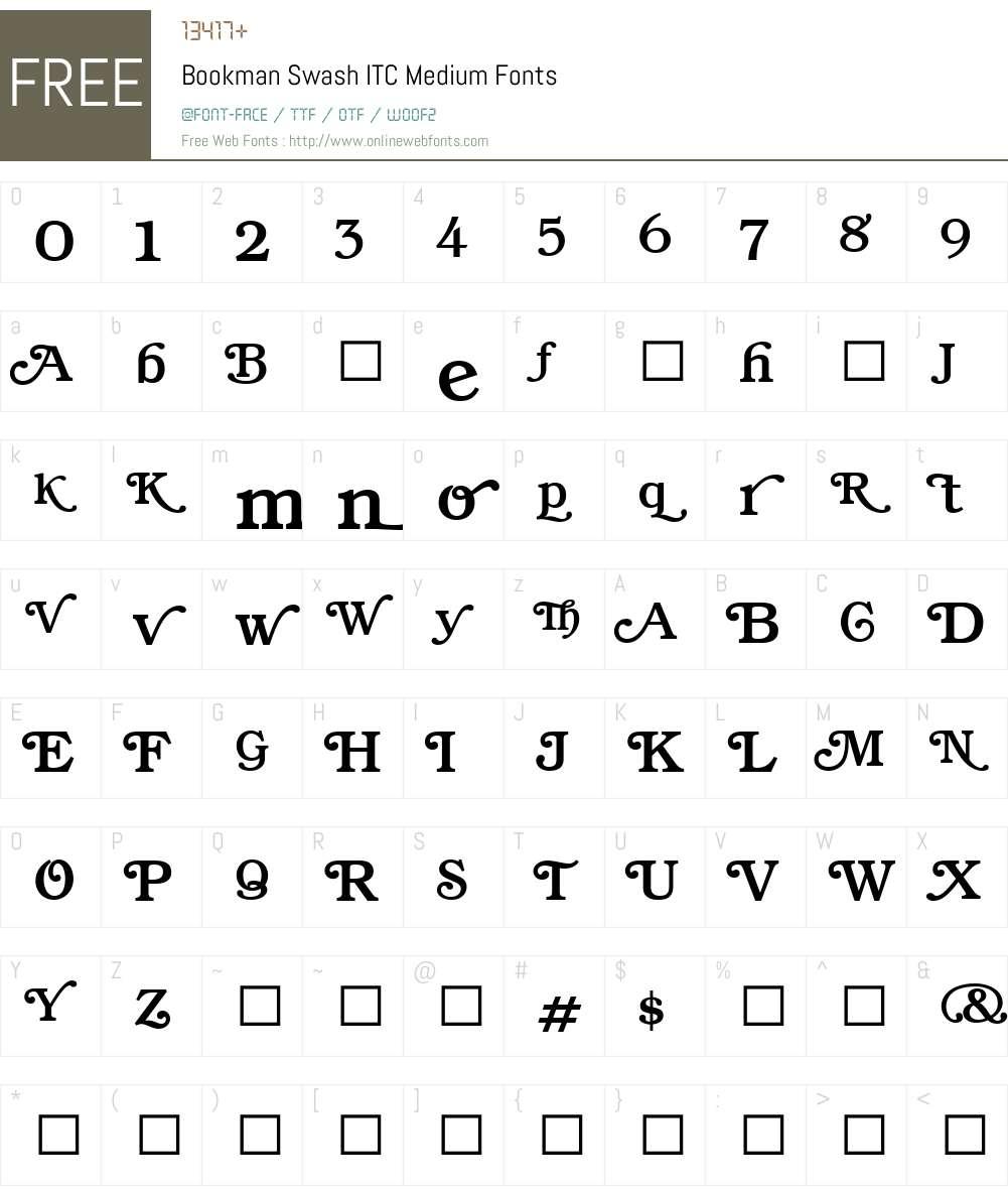 BookmanSwashITC-Medium Font Screenshots