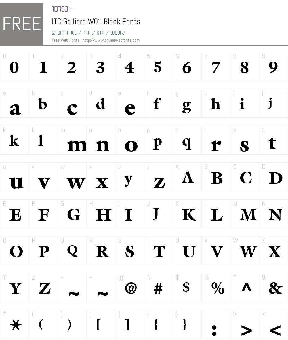 ITCGalliardW01-Black Font Screenshots