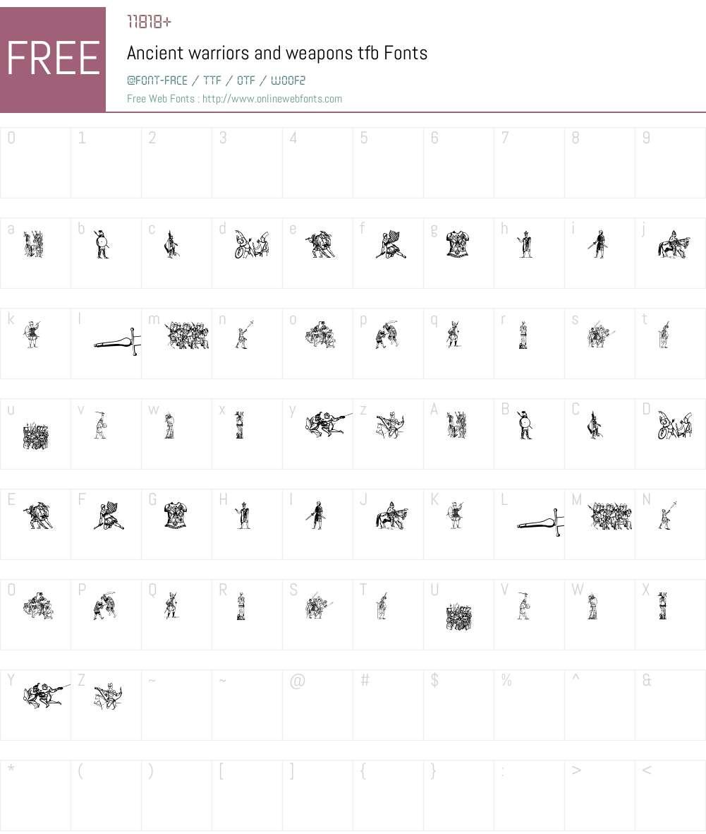 Ancient warriors and weapons tfb Font Screenshots