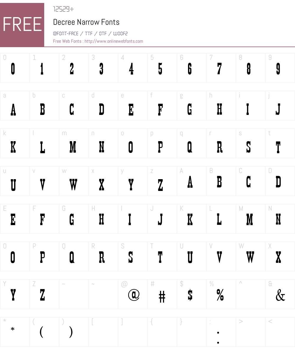 Decree Narrow Font Screenshots