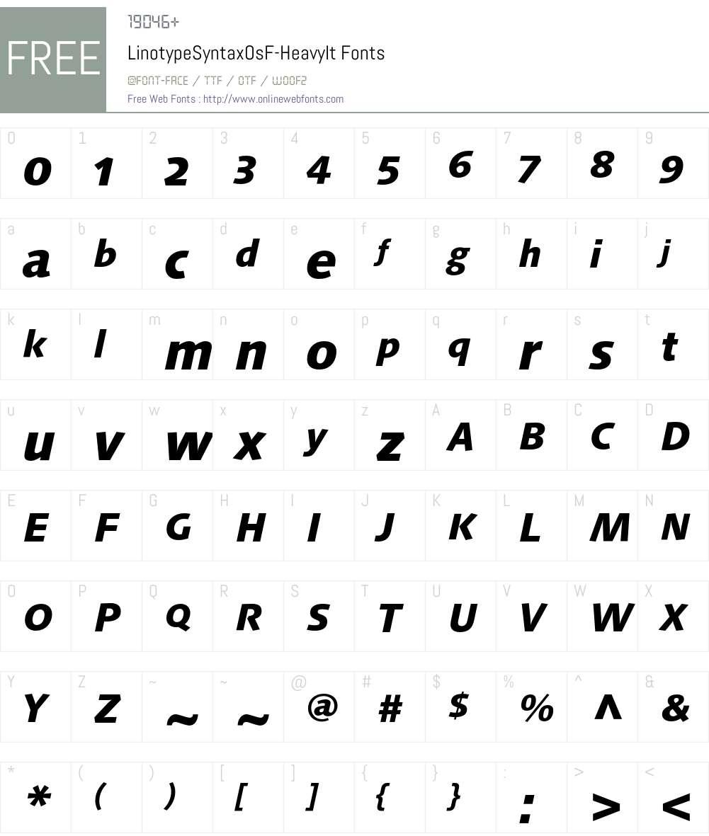 LinotypeSyntaxOsF Font Screenshots