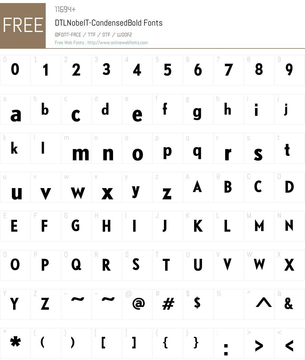 DTLNobelT Condensed Font Screenshots