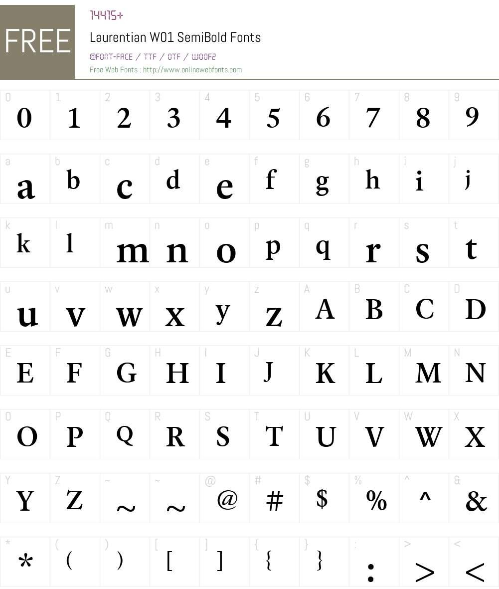 LaurentianW01-SemiBold Font Screenshots