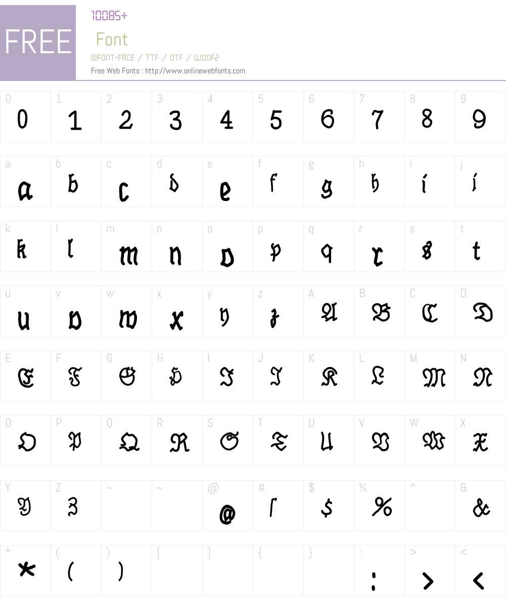 BrokenHand Font Screenshots