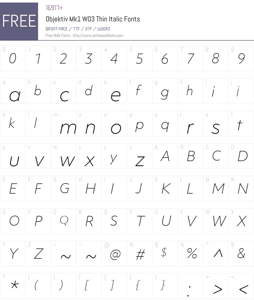 ObjektivMk1W03-ThinItalic Font Screenshots