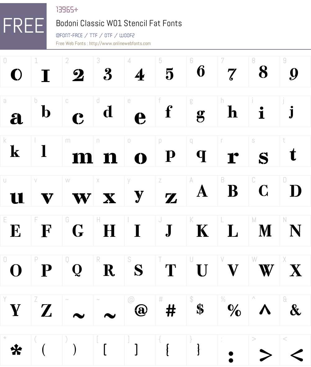 BodoniClassicW01-StencilFat Font Screenshots