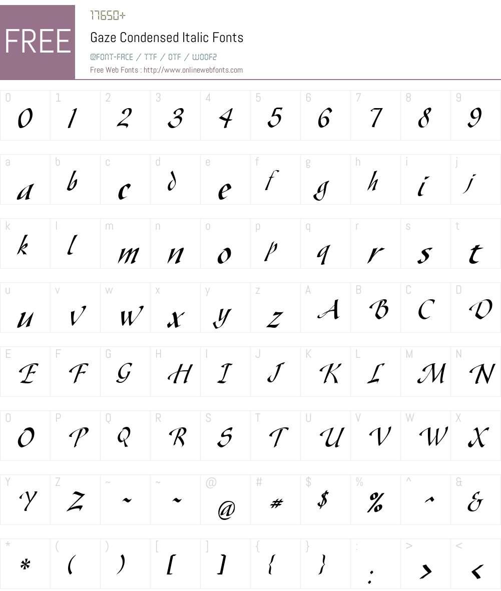 Gaze Condensed Font Screenshots