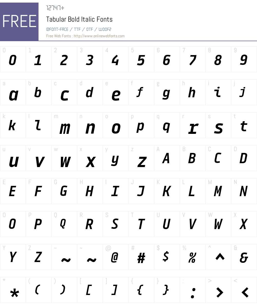 Tabular-BoldItalic Font Screenshots