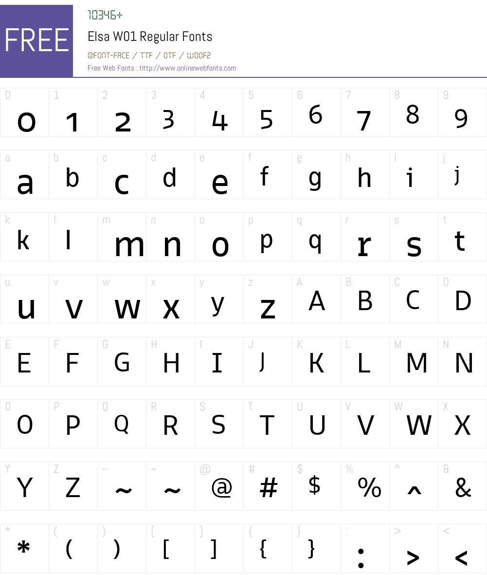 ElsaW01-Regular Font Screenshots