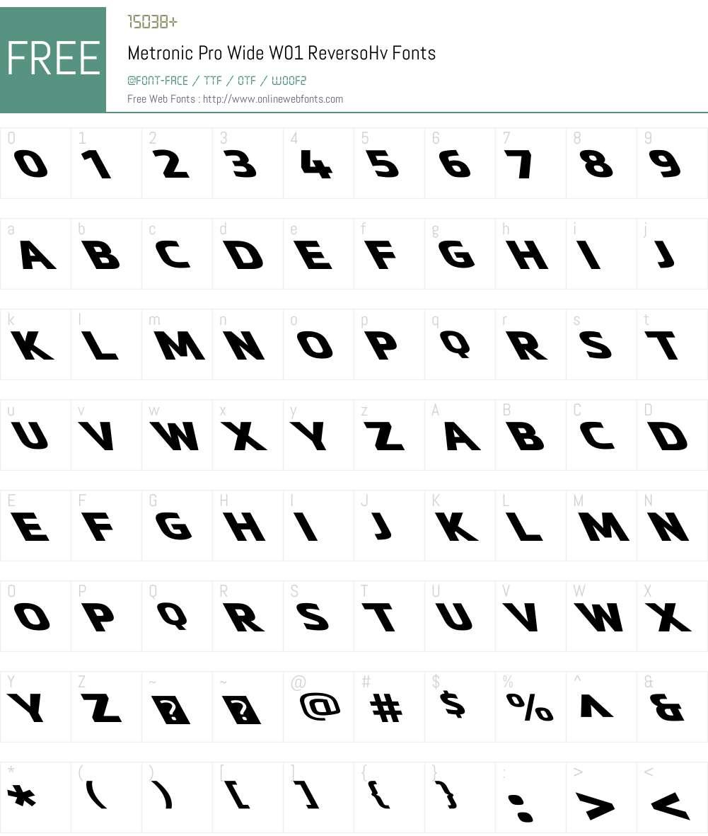 MetronicProWideW01-ReversoHv Font Screenshots