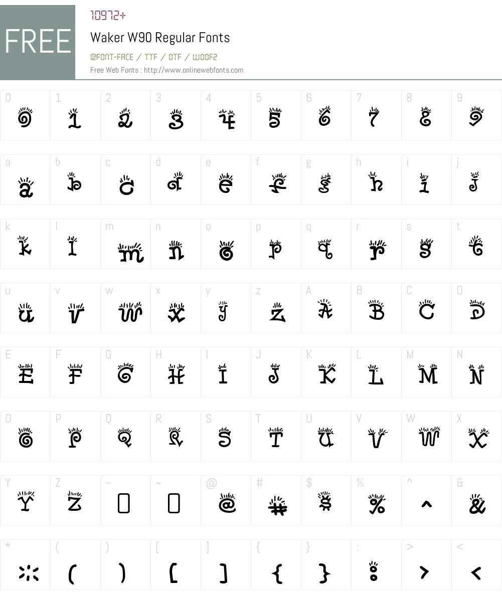 WakerW90-Regular Font Screenshots