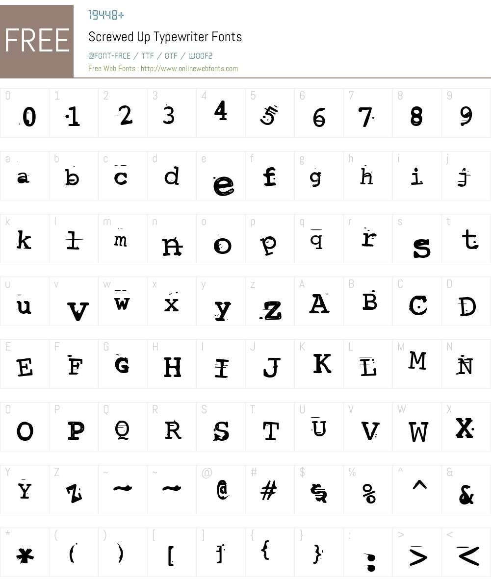 Screwed Up Typewriter Font Screenshots