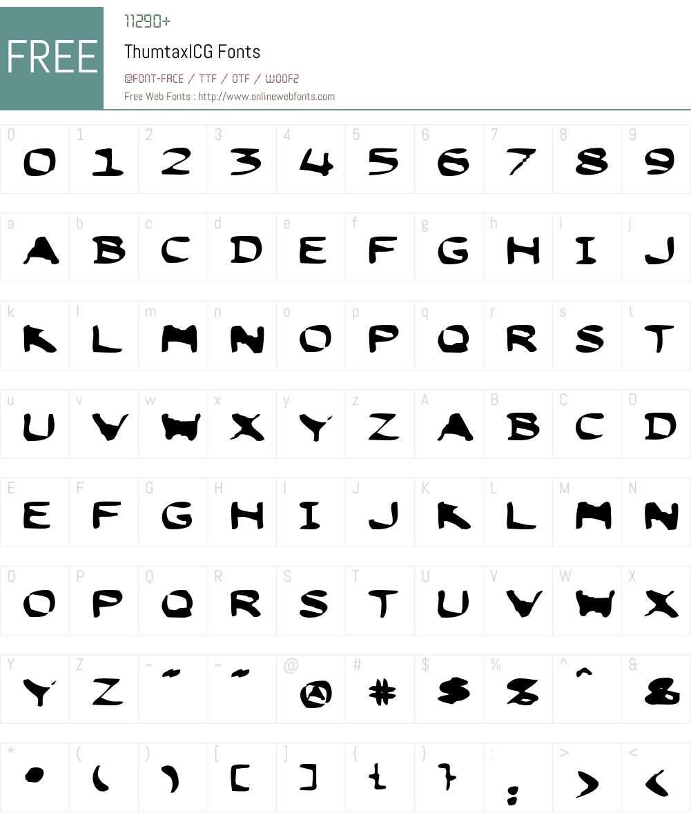 ThumtaxICG Font Screenshots