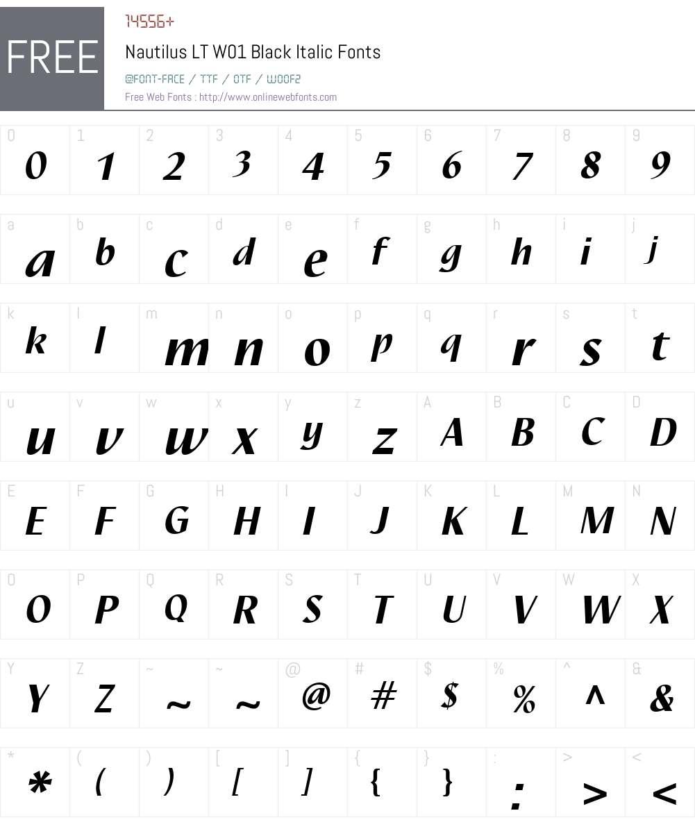 NautilusLTW01-BlackItalic Font Screenshots